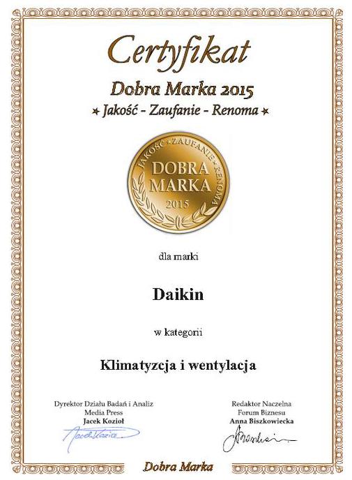 Certyfikat Dobra Marka 2015 dla Daikin
